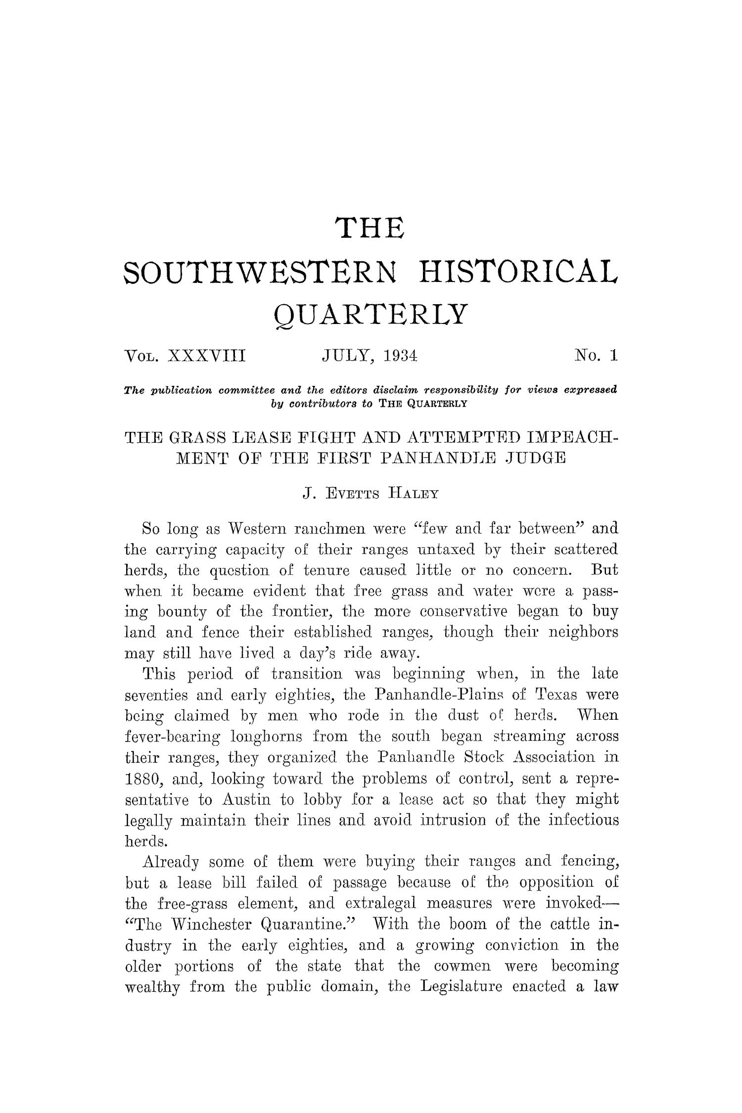 The Southwestern Historical Quarterly, Volume 38, July 1934 - April, 1935                                                                                                      1