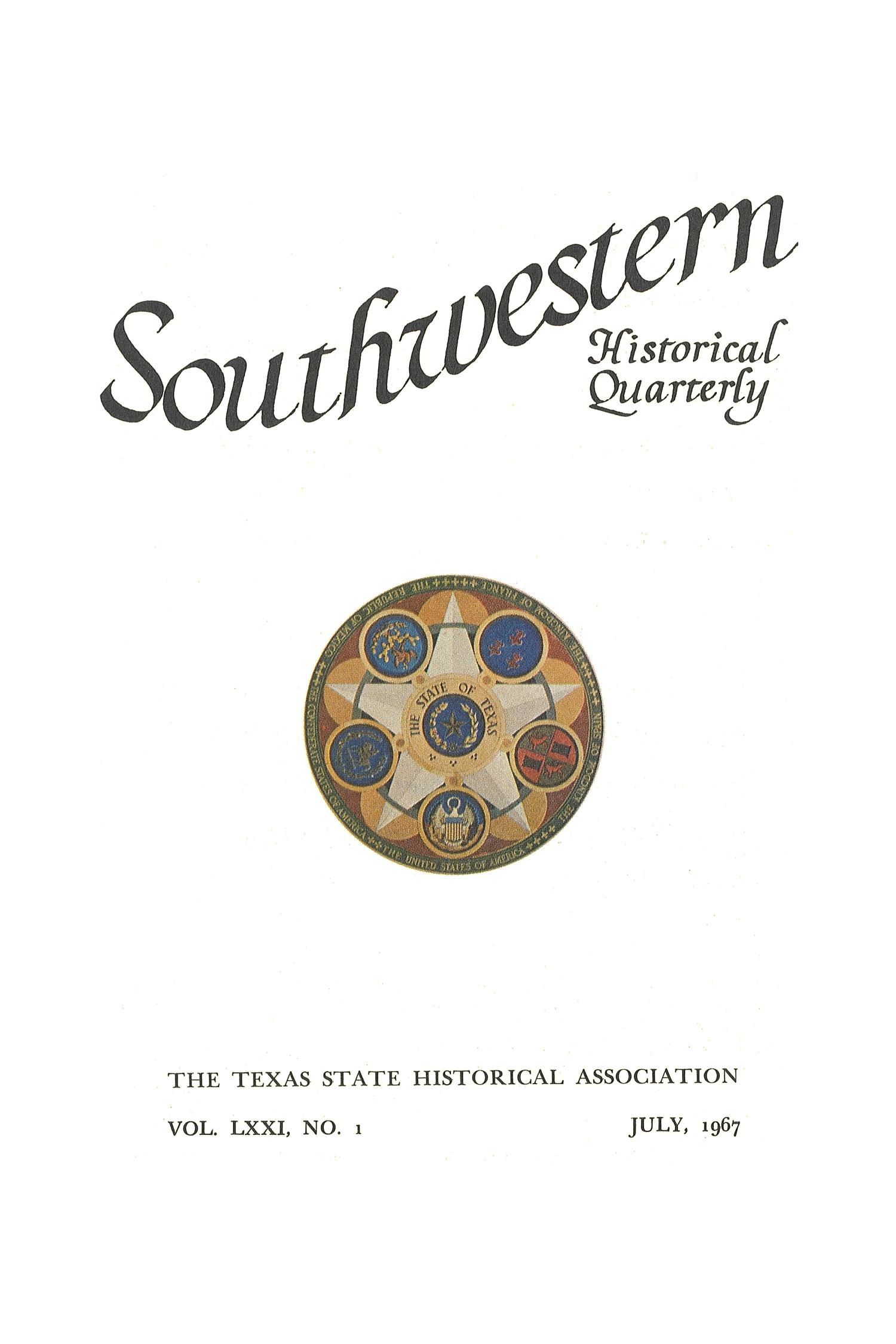 The Southwestern Historical Quarterly, Volume 71, July 1967 - April, 1968                                                                                                      Title Page