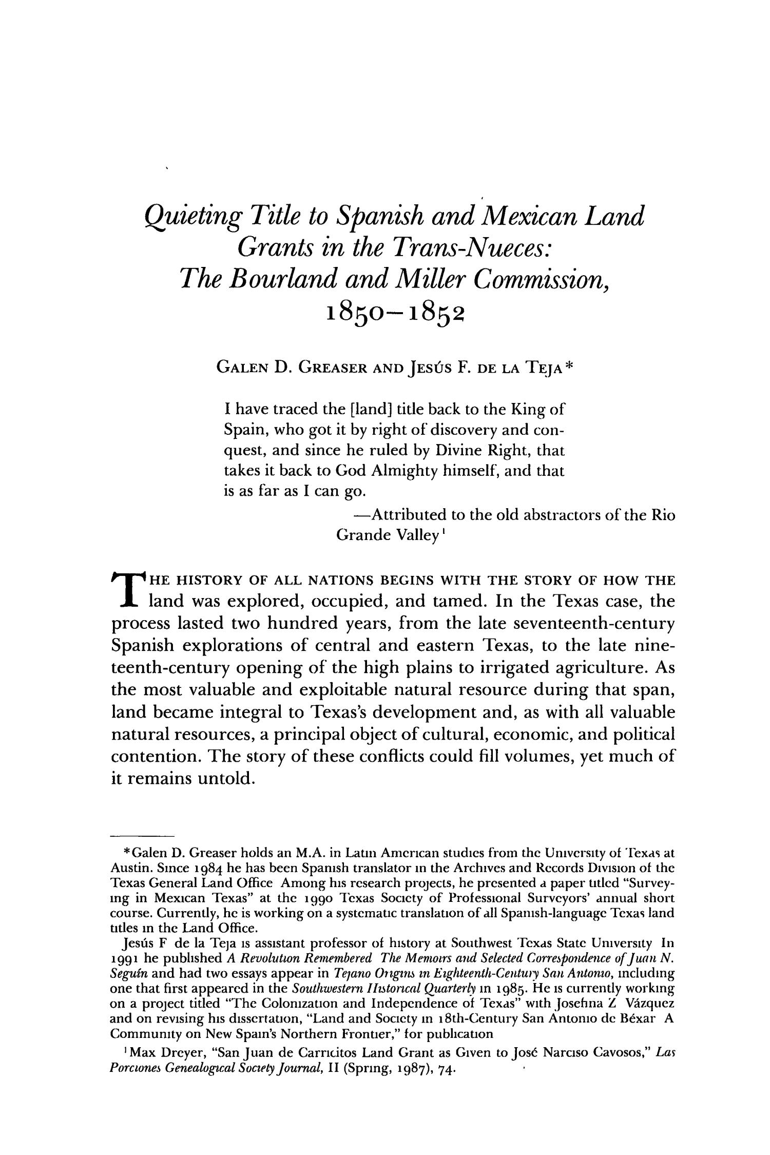 The Southwestern Historical Quarterly, Volume 95, July 1991 - April, 1992                                                                                                      445