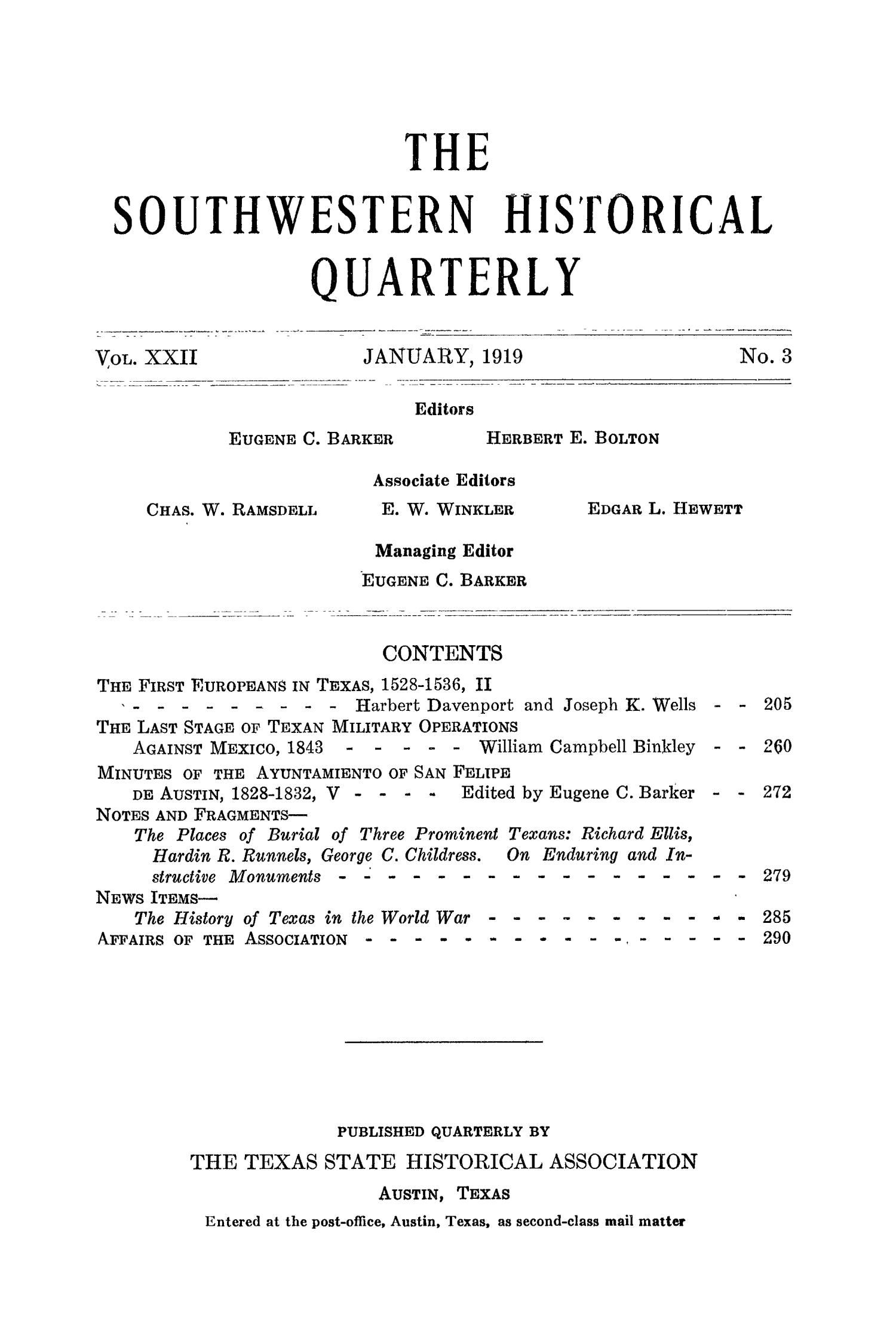 The Southwestern Historical Quarterly, Volume 22, July 1918 - April, 1919                                                                                                      None