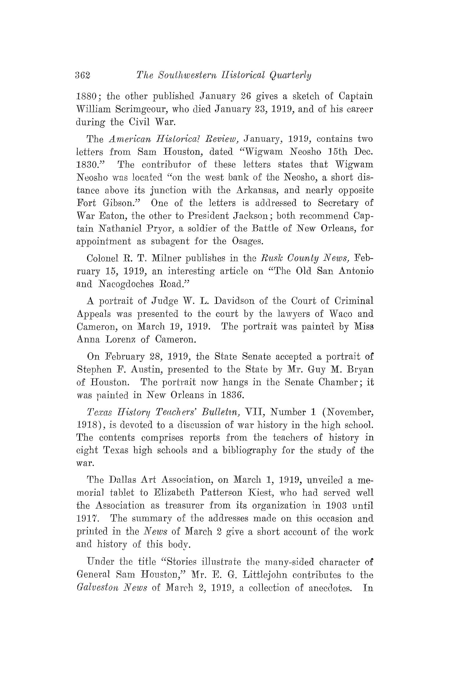 The Southwestern Historical Quarterly, Volume 22, July 1918 - April, 1919                                                                                                      362