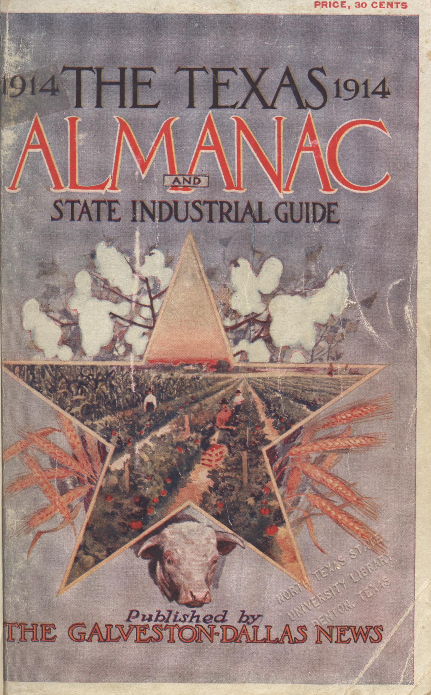Texas Almanac and State Industrial Guide 1914                                                                                                      Front Cover