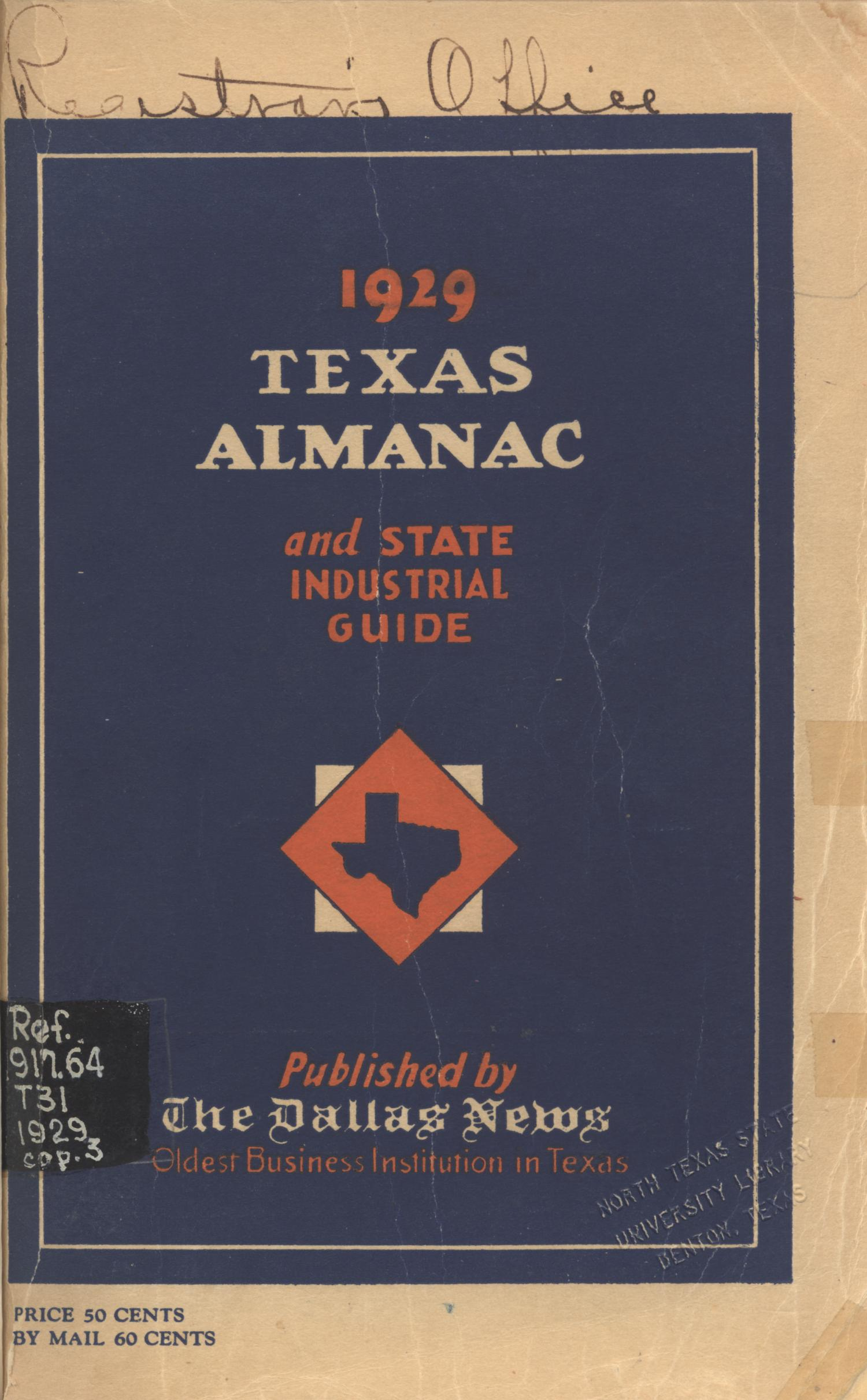 The Texas Almanac and State Industrial Guide 1929                                                                                                      Front Cover