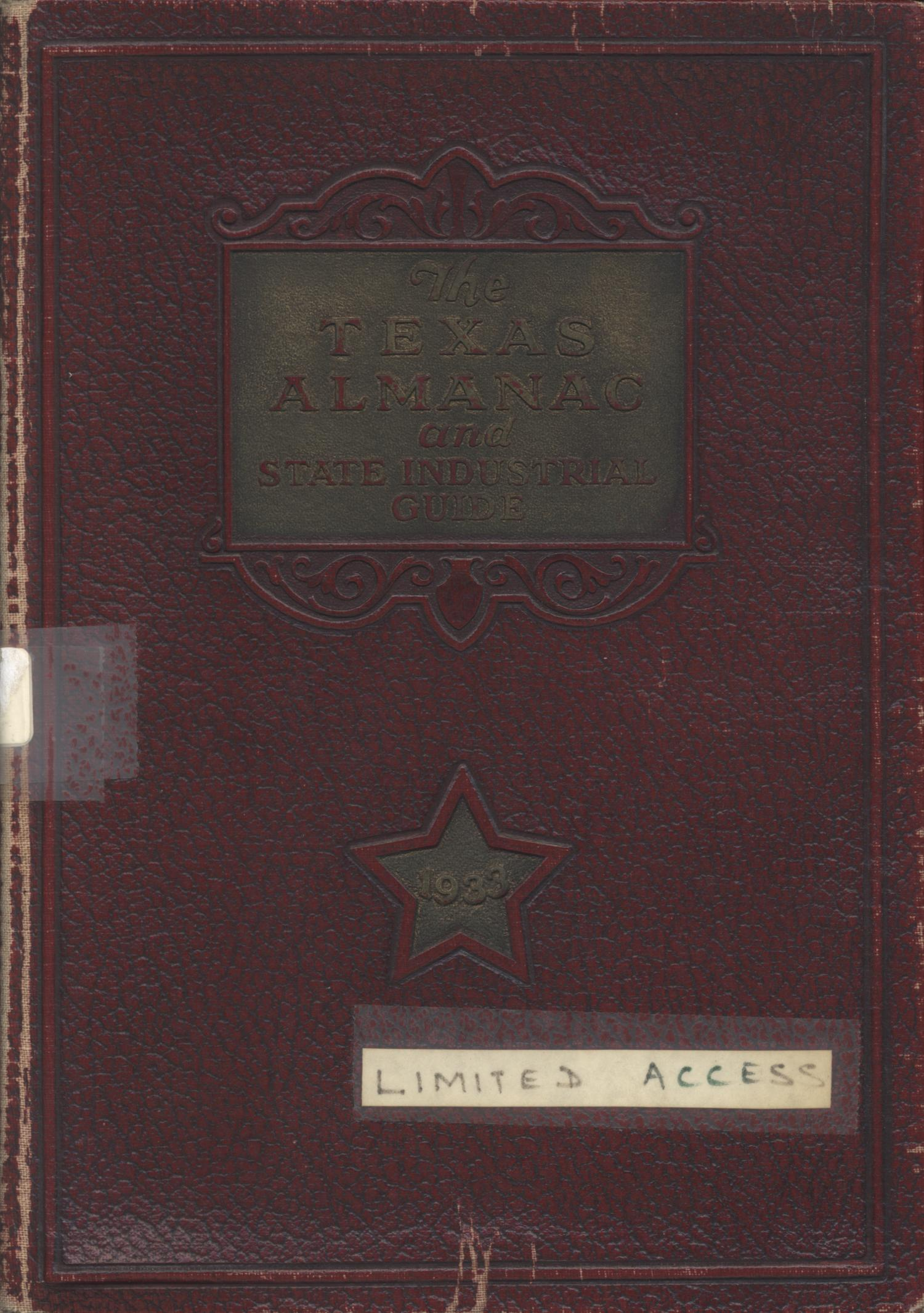 Texas Almanac and State Industrial Guide 1933                                                                                                      Front Cover