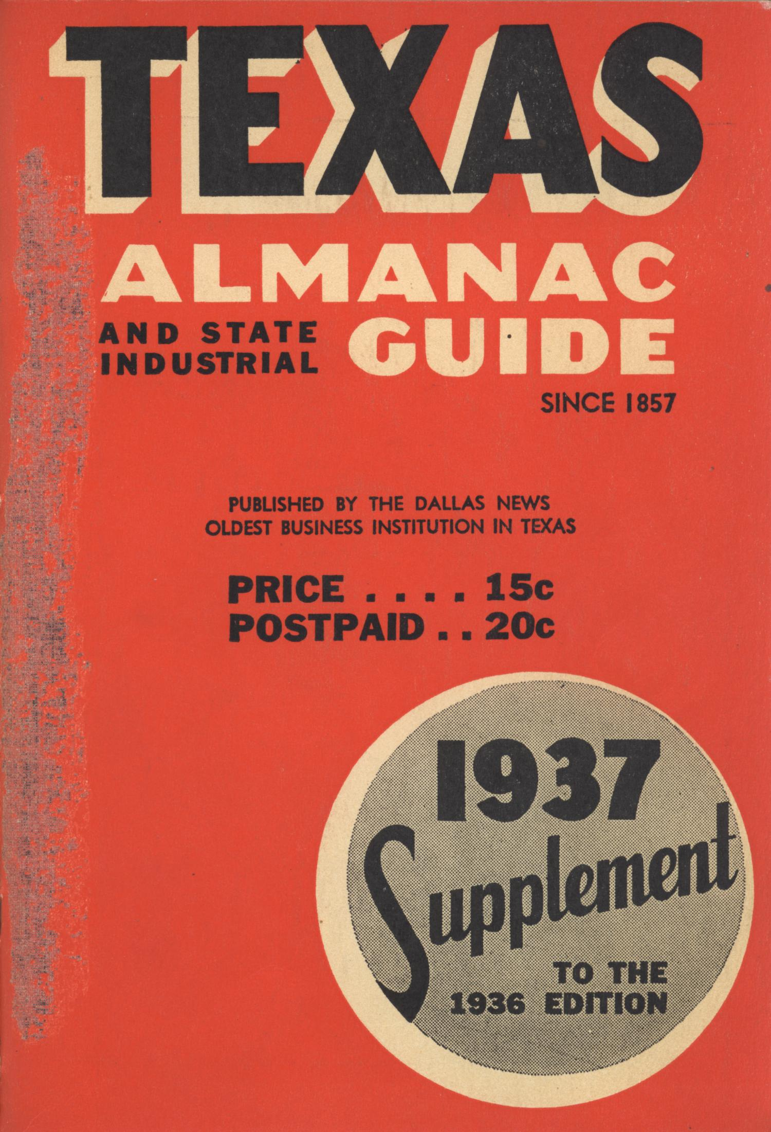 Texas Almanac and State Industrial Guide, Supplementary Edition 1937                                                                                                      Front Cover