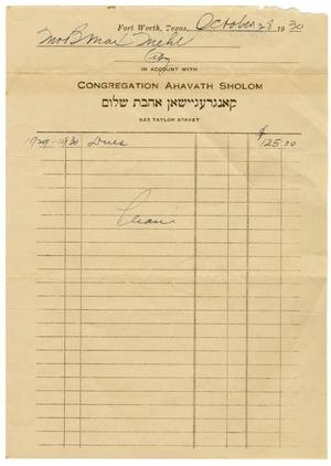 Primary view of object titled '[1930 Ahavath Sholom Dues Statement]'.