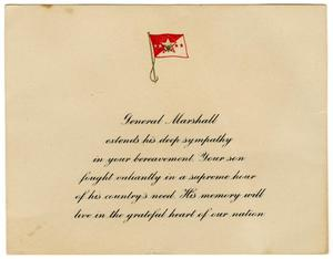 Primary view of object titled '[George Marshall's Sympathy Card]'.