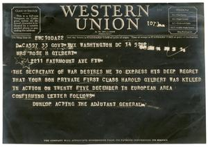Primary view of object titled '[Western Union Telegram]'.