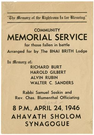 Primary view of object titled '[Memorial Service Flyer]'.