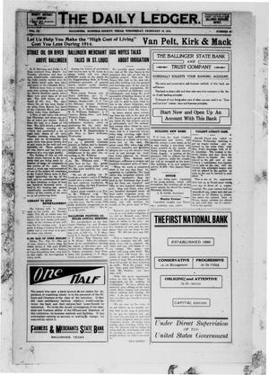 The Daily Ledger. (Ballinger, Tex.), Vol. 9, No. 42, Ed. 1 Wednesday, February 18, 1914