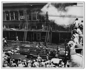 Primary view of object titled '[Three Alarm Fire at Main and Duncan]'.