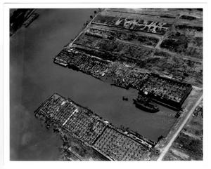 Primary view of object titled '[Aerial view of the hull of the Wilson B. Keene after the 1947 Texas City Disaster]'.