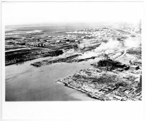 Primary view of object titled '[Aerial view of the Monsanto plant and port facilities after the 1947 Texas City Disaster]'.