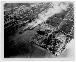 [Aerial view of the port after the 1947 Texas City Disaster]