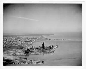 [Aerial view of refinery structures near the port after the 1947 Texas City Disaster]