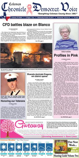 Primary view of Coleman Chronicle & Democrat-Voice (Coleman, Tex.), Vol. 136, No. 42, Ed. 1 Wednesday, October 18, 2017