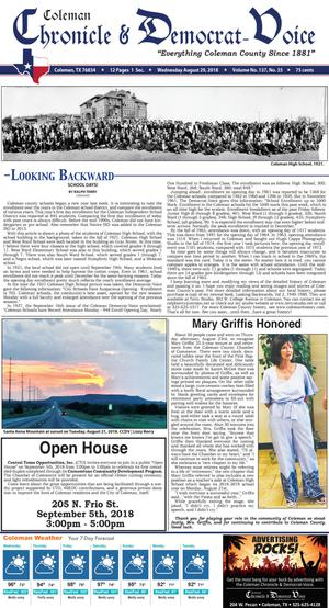 Primary view of Coleman Chronicle & Democrat-Voice (Coleman, Tex.), Vol. 137, No. 35, Ed. 1 Wednesday, August 29, 2018