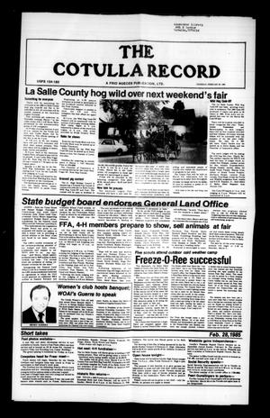 Primary view of object titled 'The Cotulla Record (Cotulla, Tex.), Ed. 1 Thursday, February 28, 1985'.
