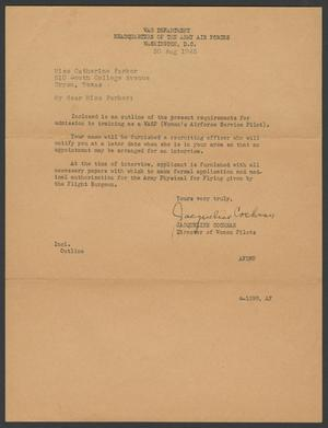 [Letter from Jacqueline Cochran to Catherine Parker, August 30, 1943]
