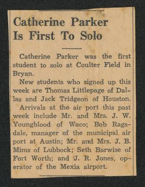 [Clipping: Catherine Parker Is First To Solo]