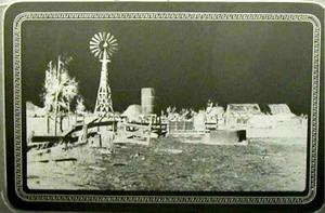Primary view of object titled '[Farm yard with a windmill]'.