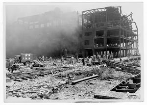 Primary view of object titled '[Rescue workers check through debris after the 1947 Texas City Disaster]'.