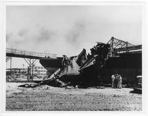Primary view of object titled '[The Longhorn II aground after the 1947 Texas City Disaster]'.