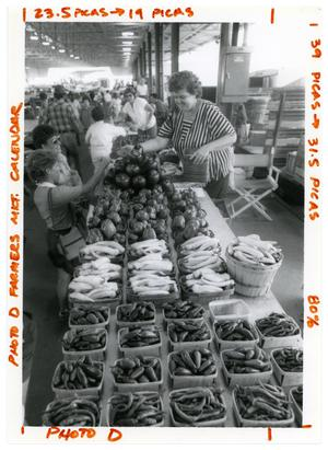 Primary view of object titled '[Seller at Dallas Farmer's Market]'.