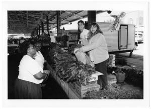 Primary view of object titled '[Customers at Produce Stand]'.