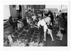 Primary view of object titled '[Customers Buying Vegetables]'.