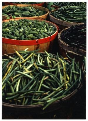 [Display of Green Beans and Okra]