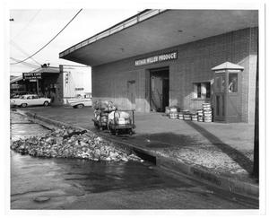 Primary view of object titled '[Arthur Miller Produce Loading Dock and Burt's Café]'.