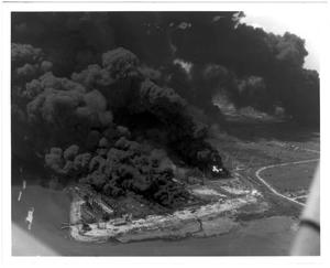 Primary view of object titled '[Aerial view of the burning Monsanto plant after the 1947 Texas City Disaster]'.