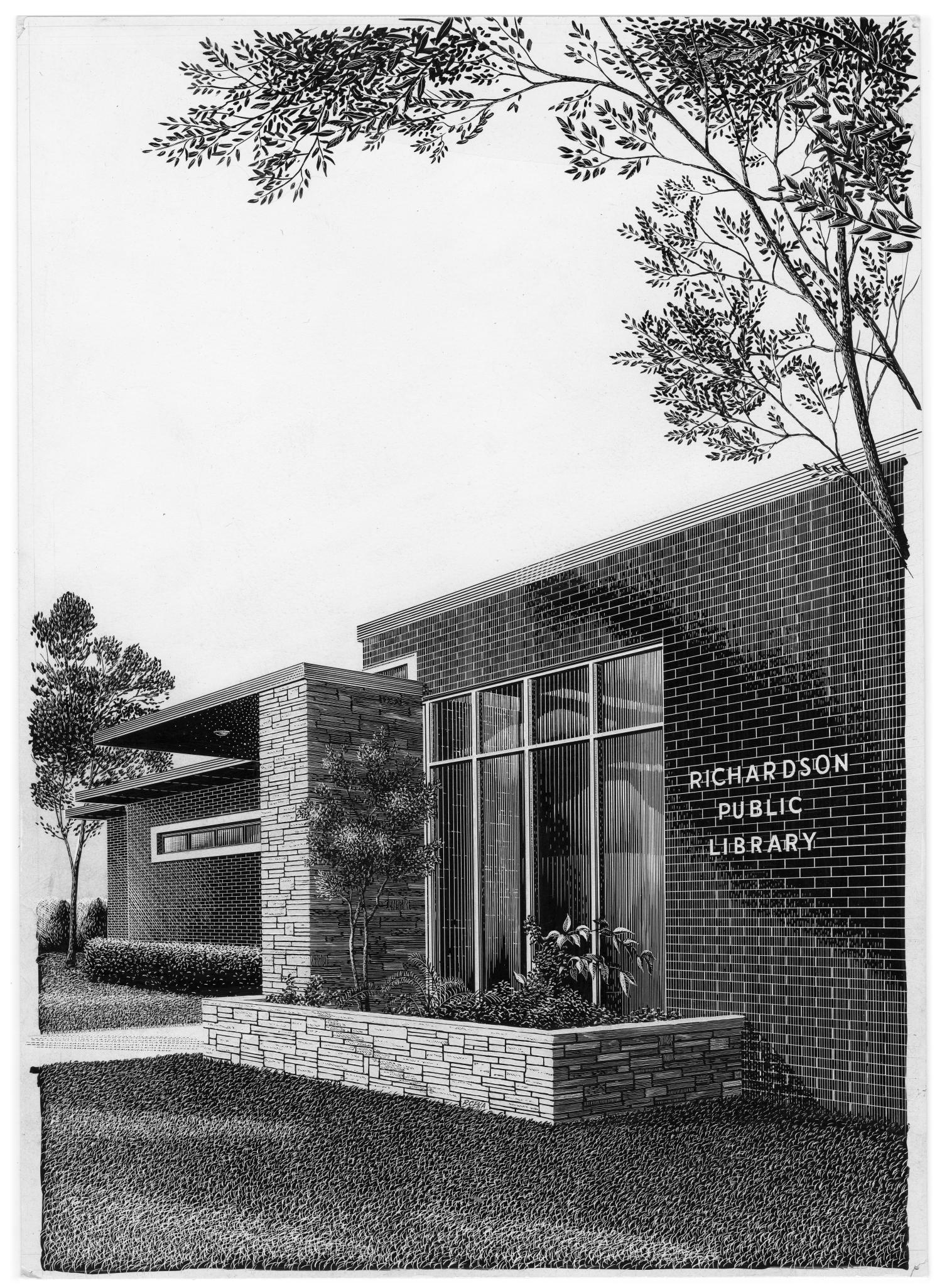"""Richardson Public Library, 310 East Tyler Street, Illustration of Richardson Public Library on 310 East Tyler Street in Richardson, Texas. The drawing depicts the building as made out of bricks, with a sidewalk leading to an awning. There is a flower bed in front of a set of windows. Text on the side says """"Richardson Public Library."""" The building was in use from 1959 until the current library building opened in 1970.,"""