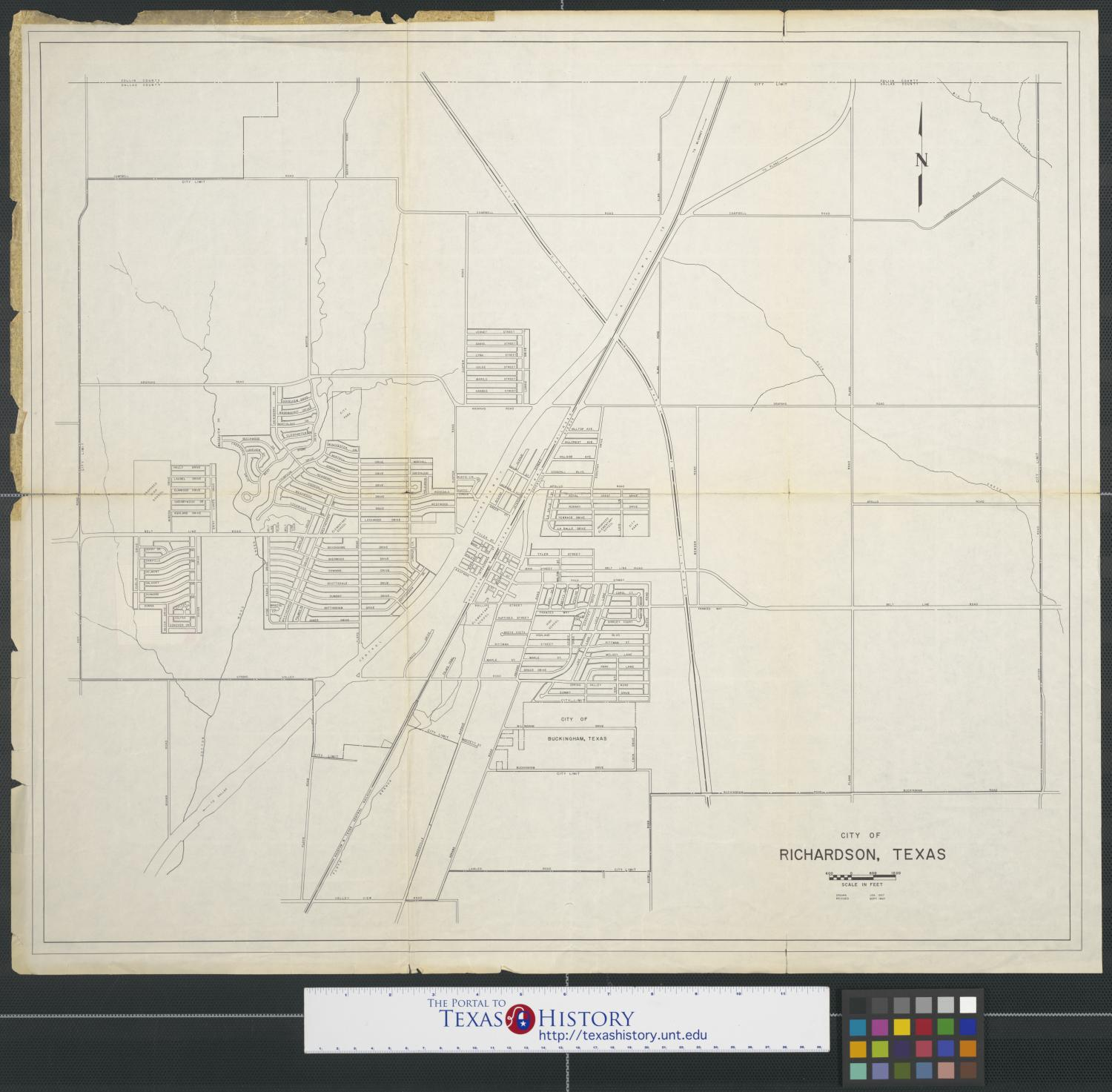 [Map of] City of Richardson, Texas, Map of Richardson, Texas. The town boundaries are marked as well as the streets, land divisions, and creeks. Scale 1:1,200.,