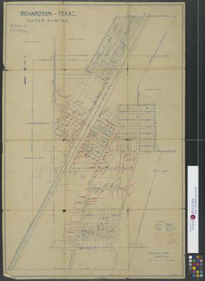 Primary view of object titled '[Map of] Richardson, Texas. Water System.'.
