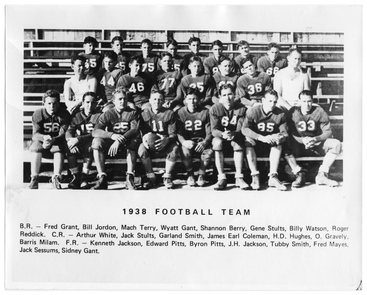 """1938 Richardson High School Football Team, Photograph of the 1938 Richardson High School football team. They are seated in bleachers, and posing in three rows. All but two boys are wearing football uniforms; one boy in the center-front row is holding a football. Text below the image says """"1938 Football Team,"""" and has each of their names listed.,"""