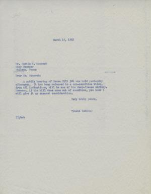 Primary view of [Letter from Truett Latimer to Austin P. Hancock, March 18, 1993]
