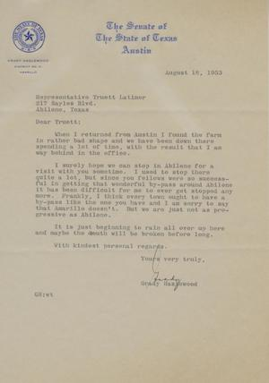 Primary view of object titled '[Letter from Grady Hazlewood to Truett Latimer, August 18, 1953]'.