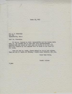 Primary view of object titled '[Letter from Truett Latimer to John W. Etheredge, March 18, 1953]'.