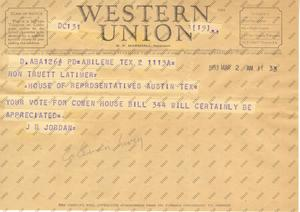 Primary view of object titled '[Telegram from J. B. Jordan, March 2, 1953]'.