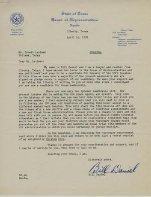 Primary view of object titled '[Letter from Bill Daniel to Truett Latimer, April 14, 1952]'.