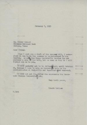 Primary view of object titled '[Letter from Truett Latimer to Oliver Howard, February 7, 1953]'.