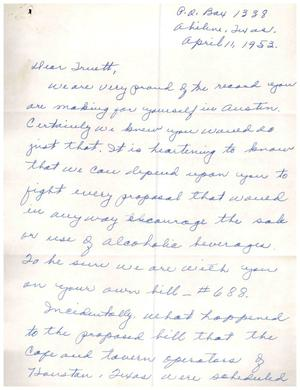 Primary view of object titled '[Letter from Mrs. Gordon Asbury to Truett Latimer, April 11, 1953]'.