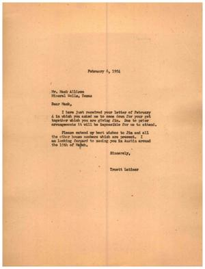 Primary view of object titled '[Letter from Truett Latimer to Mack Allison, February 6, 1954]'.