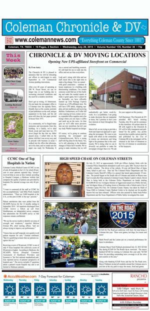 Coleman Chronicle & DV (Coleman, Tex.), Vol. 135, No. 30, Ed. 1 Wednesday, July 29, 2015