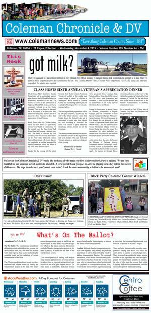 Coleman Chronicle & DV (Coleman, Tex.), Vol. 135, No. 44, Ed. 1 Wednesday, November 4, 2015