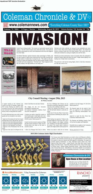 Coleman Chronicle & DV (Coleman, Tex.), Vol. 135, No. 34, Ed. 1 Wednesday, August 26, 2015