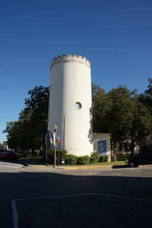 Primary view of object titled 'Columbus, Texas, 1883 City Water Tower and Fire Station'.