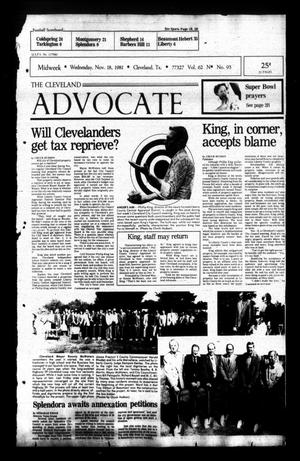Primary view of The Cleveland Advocate (Cleveland, Tex.), Vol. 62, No. 93, Ed. 1 Wednesday, November 18, 1981